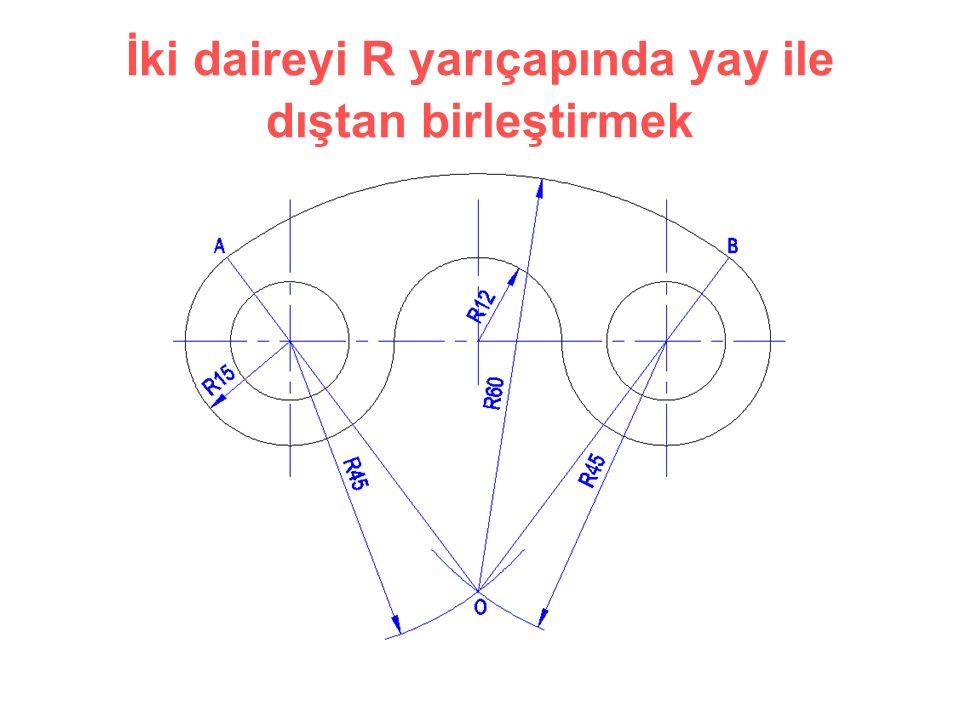 İki daireyi R yarıçapında yay ile dıştan birleştirmek