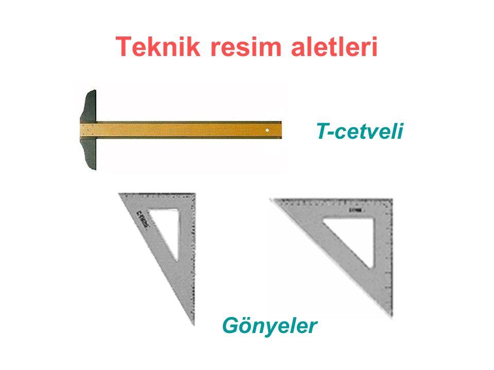 Teknik resim aletleri T-cetveli Gönyeler