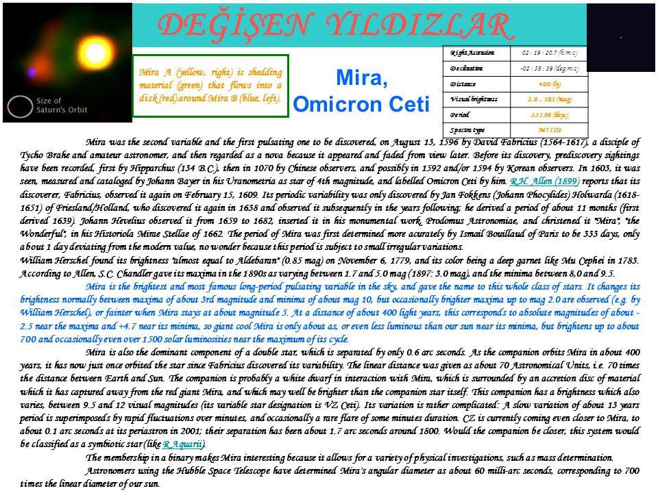 DEĞİŞEN YILDIZLAR Mira, Omicron Ceti