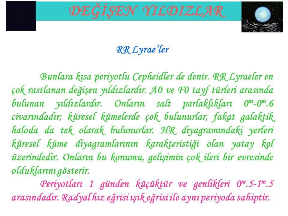 DEĞİŞEN YILDIZLAR RR Lyrae'ler