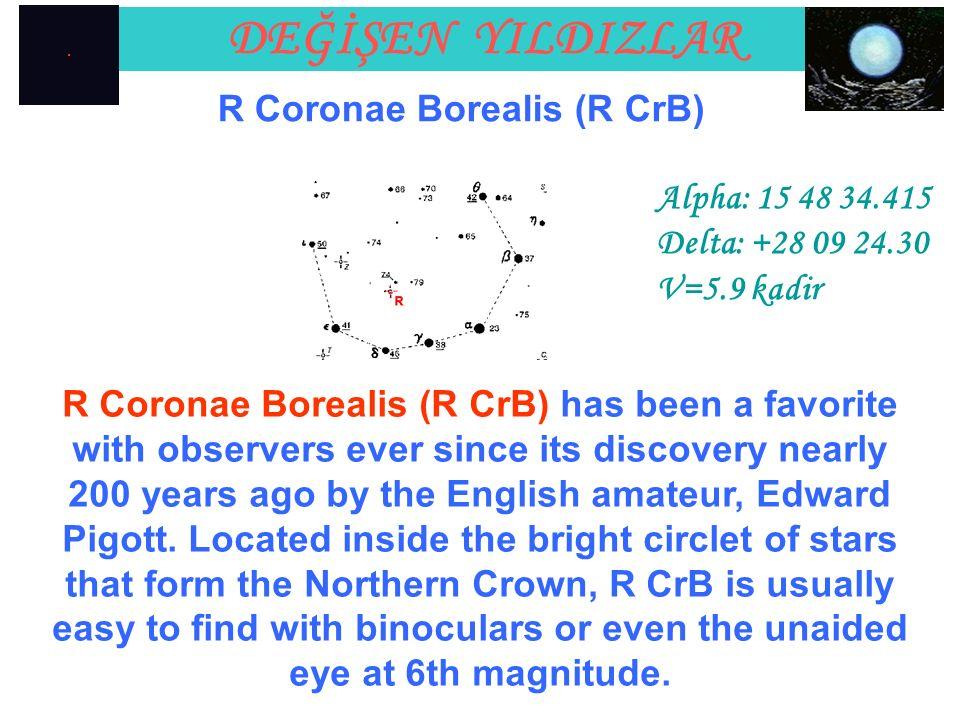 DEĞİŞEN YILDIZLAR R Coronae Borealis (R CrB) Alpha: 15 48 34.415