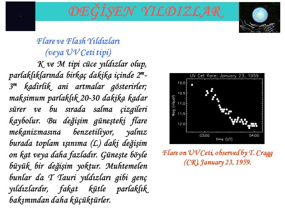 DEĞİŞEN YILDIZLAR Flare ve Flash Yıldızları (veya UV Ceti tipi)