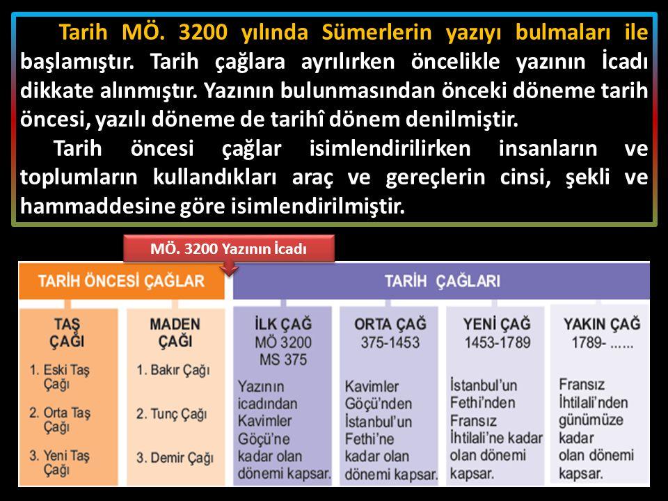Tarih MÖ. 3200 yılında Sümerlerin yazıyı bulmaları ile başlamıştır