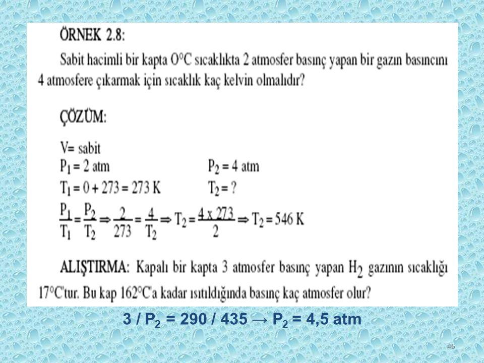 3 / P2 = 290 / 435 → P2 = 4,5 atm