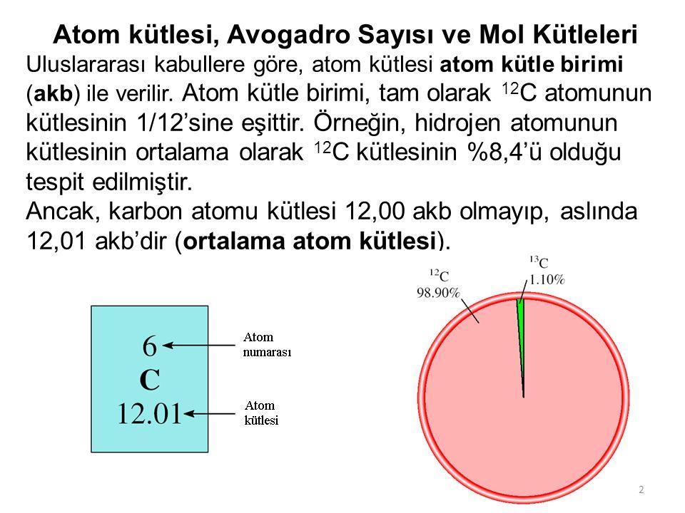 Atom kütlesi, Avogadro Sayısı ve Mol Kütleleri