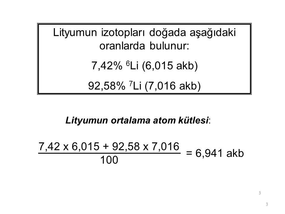 Lityumun izotopları doğada aşağıdaki oranlarda bulunur: