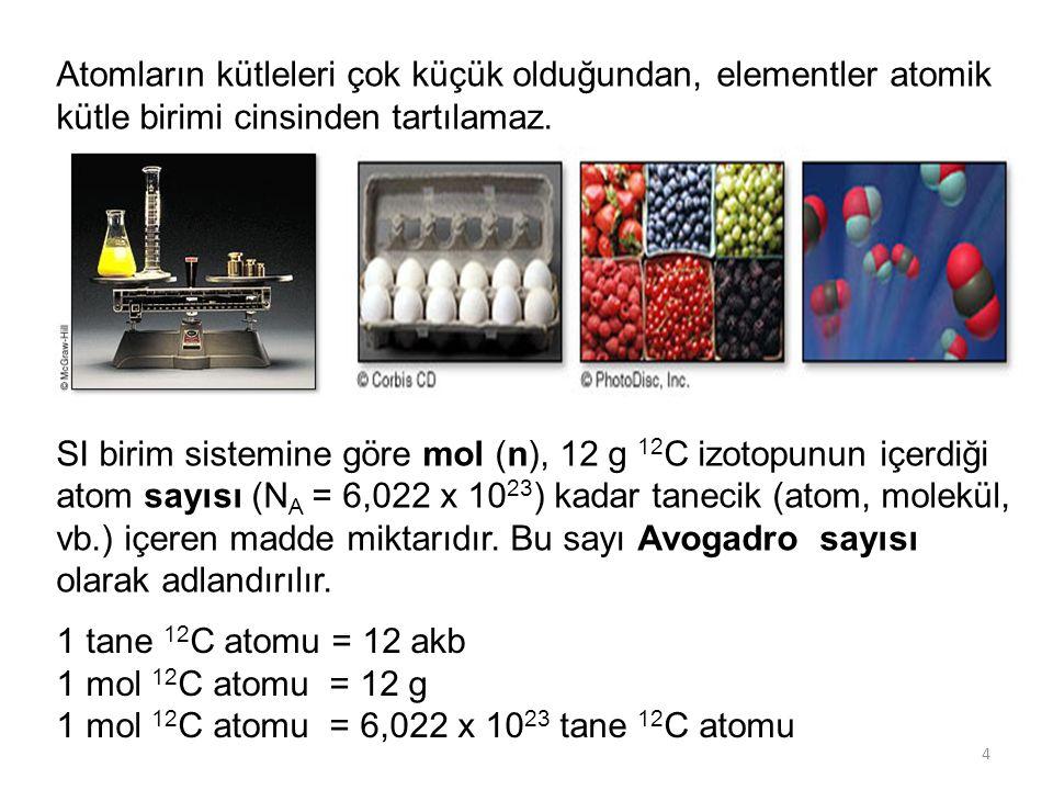 Atomların kütleleri çok küçük olduğundan, elementler atomik kütle birimi cinsinden tartılamaz.