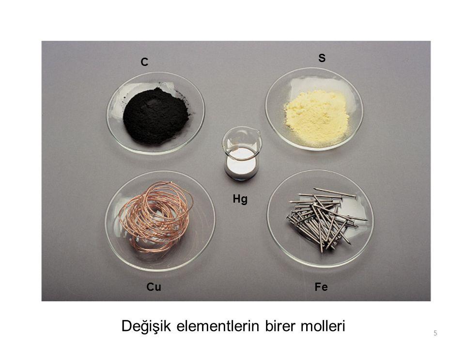 Değişik elementlerin birer molleri