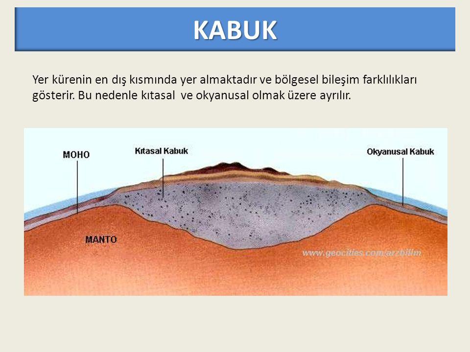 KABUK Yer kürenin en dış kısmında yer almaktadır ve bölgesel bileşim farklılıkları gösterir.