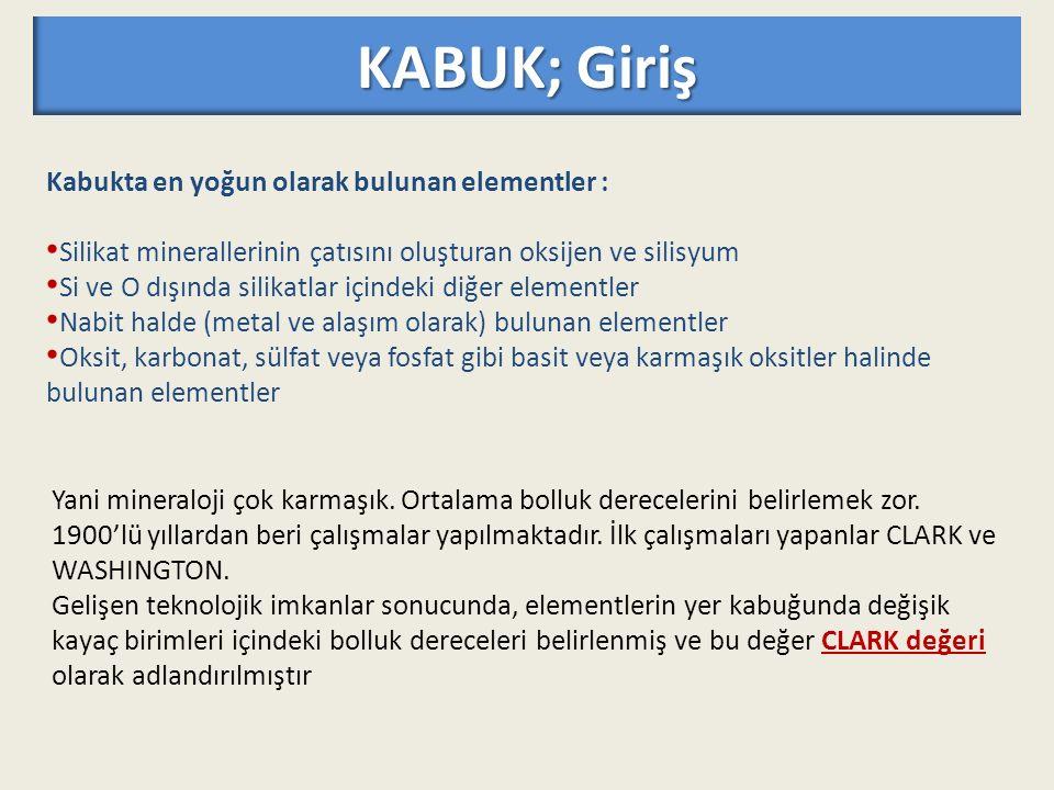 KABUK; Giriş Kabukta en yoğun olarak bulunan elementler :