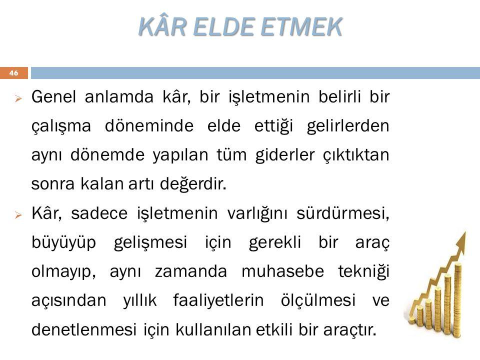 KÂR ELDE ETMEK