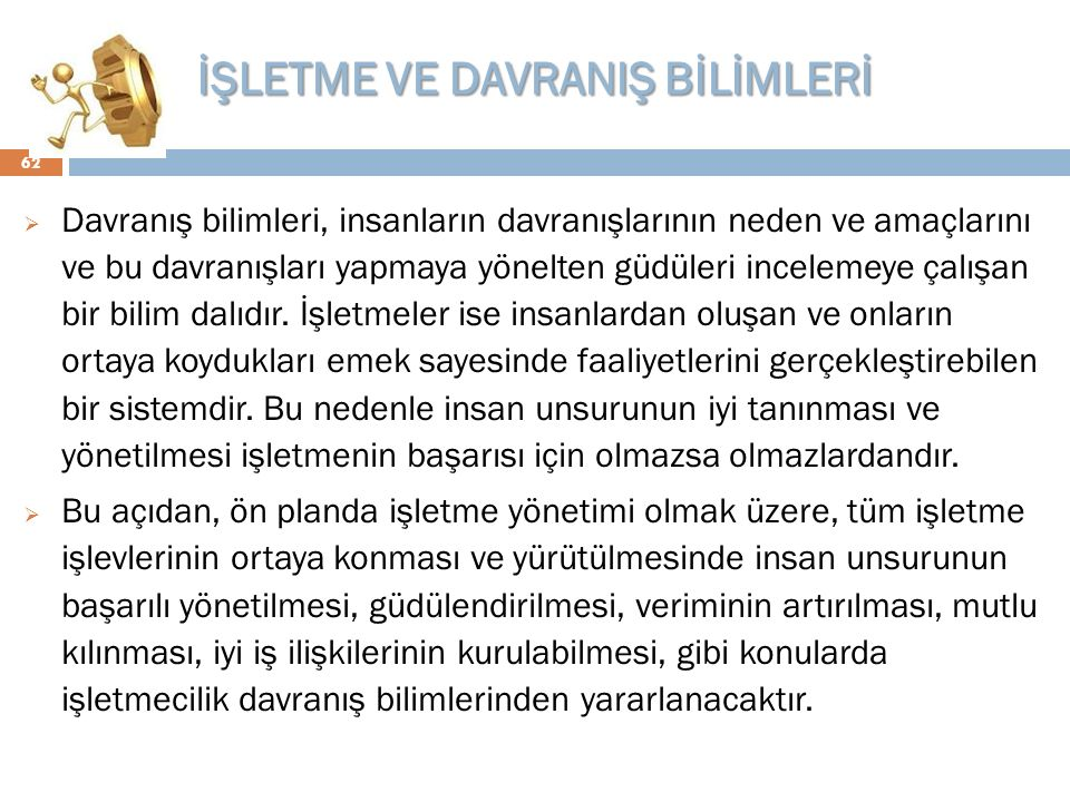 İŞLETME VE DAVRANIŞ BİLİMLERİ