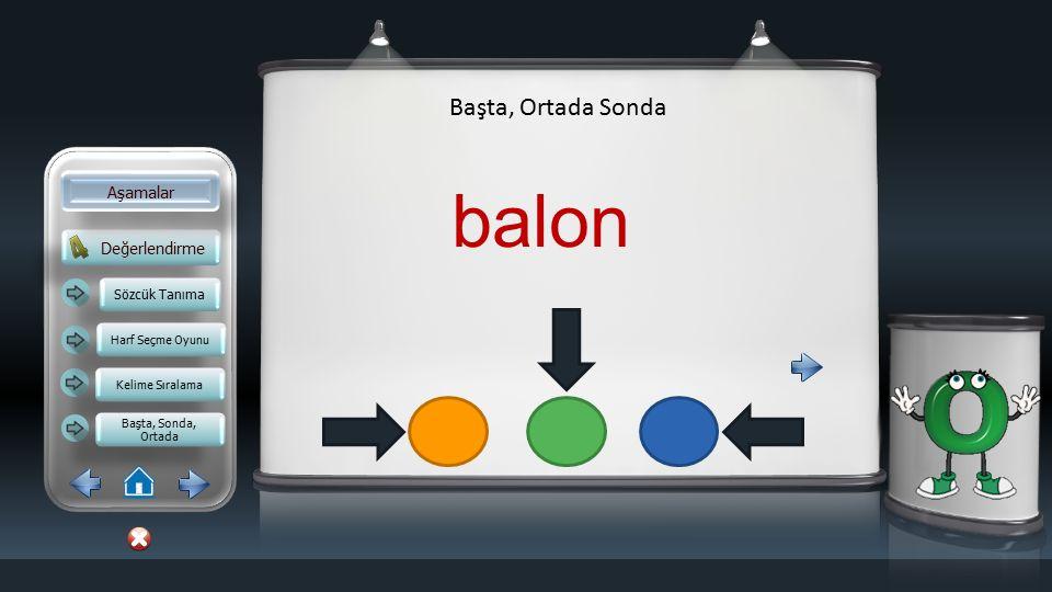 balon Başta, Ortada Sonda Aşamalar Değerlendirme Sözcük Tanıma