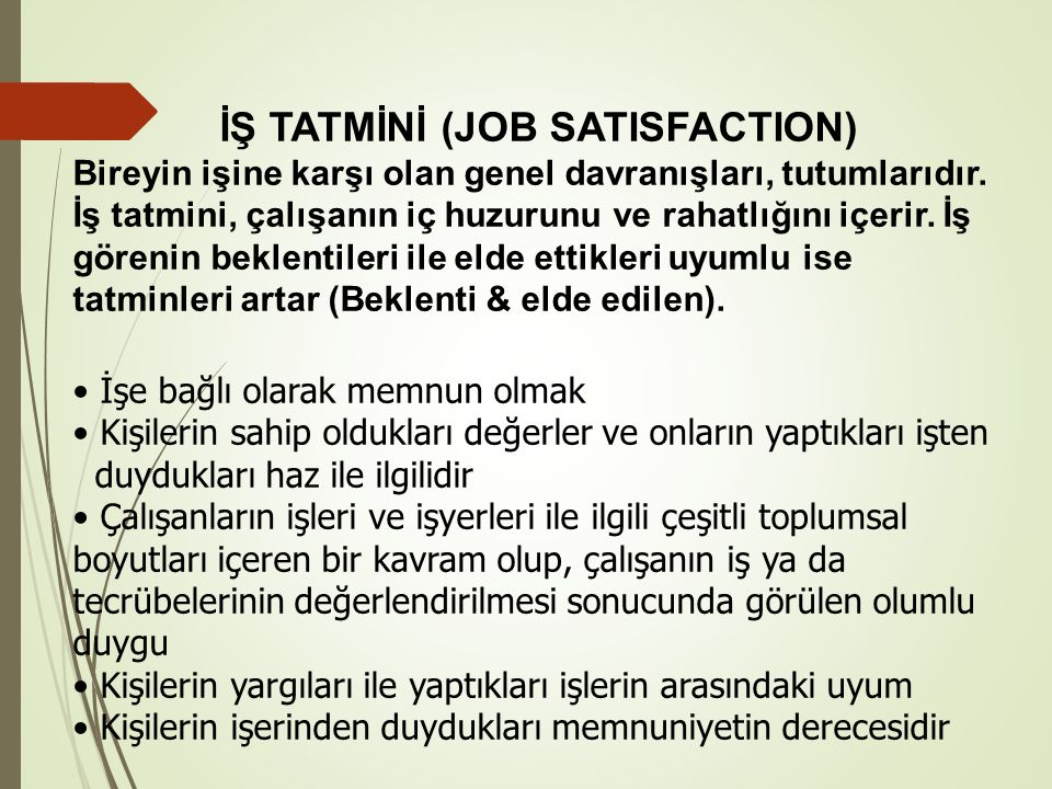 İŞ TATMİNİ (JOB SATISFACTION)