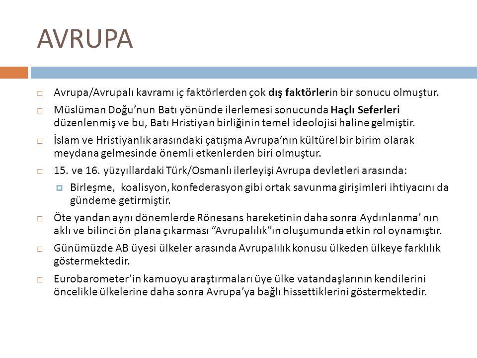 AVRUPA Avrupa/Avrupalı kavramı iç faktörlerden çok dış faktörlerin bir sonucu olmuştur.