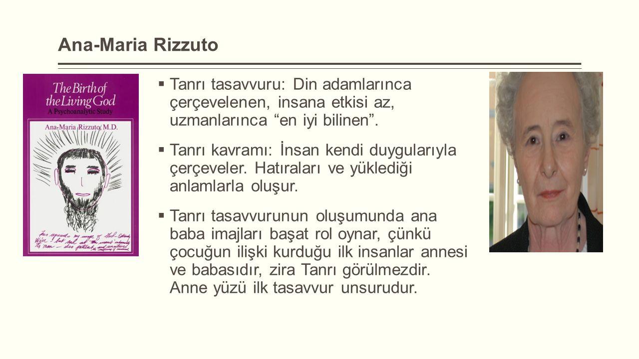 Ana-Maria Rizzuto Tanrı tasavvuru: Din adamlarınca çerçevelenen, insana etkisi az, uzmanlarınca en iyi bilinen .