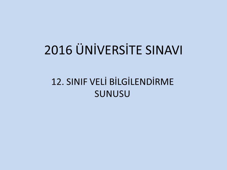 12. SINIF VELİ BİLGİLENDİRME SUNUSU