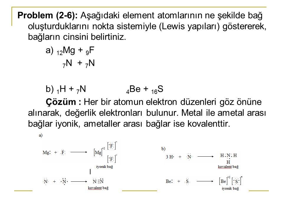 Problem (2-6): Aşağıdaki element atomlarının ne şekilde bağ oluşturduklarını nokta sistemiyle (Lewis yapıları) göstererek, bağların cinsini belirtiniz.