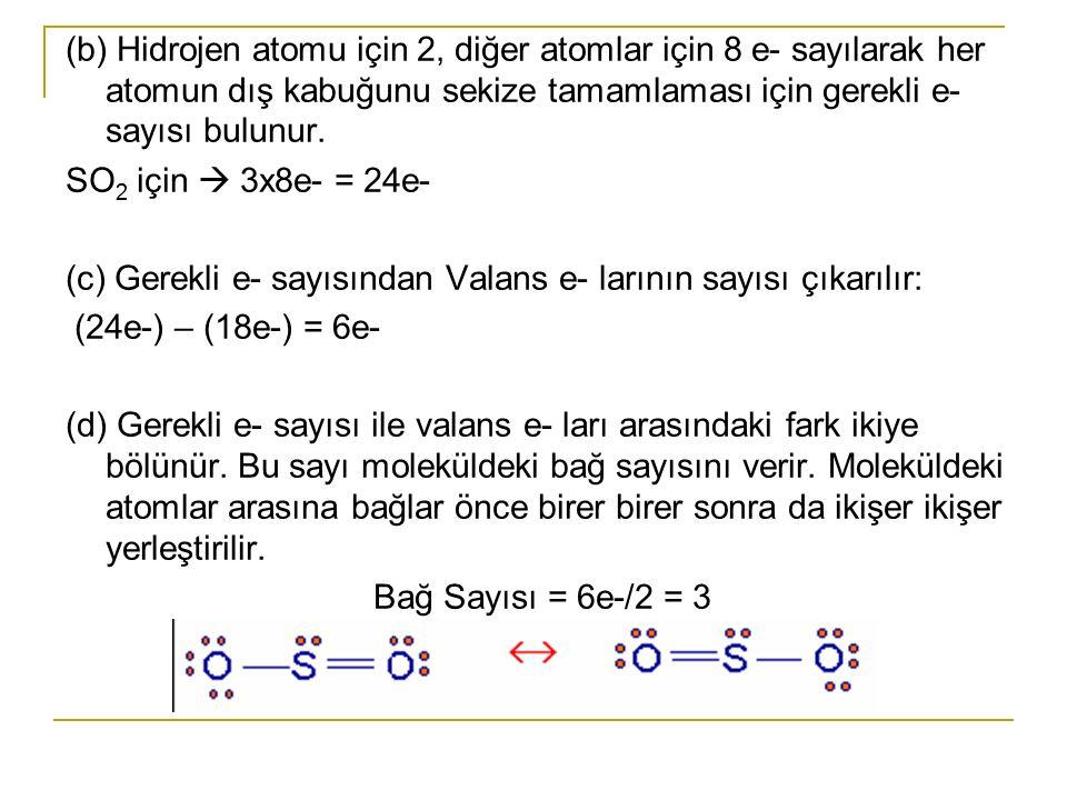 (b) Hidrojen atomu için 2, diğer atomlar için 8 e- sayılarak her atomun dış kabuğunu sekize tamamlaması için gerekli e- sayısı bulunur.