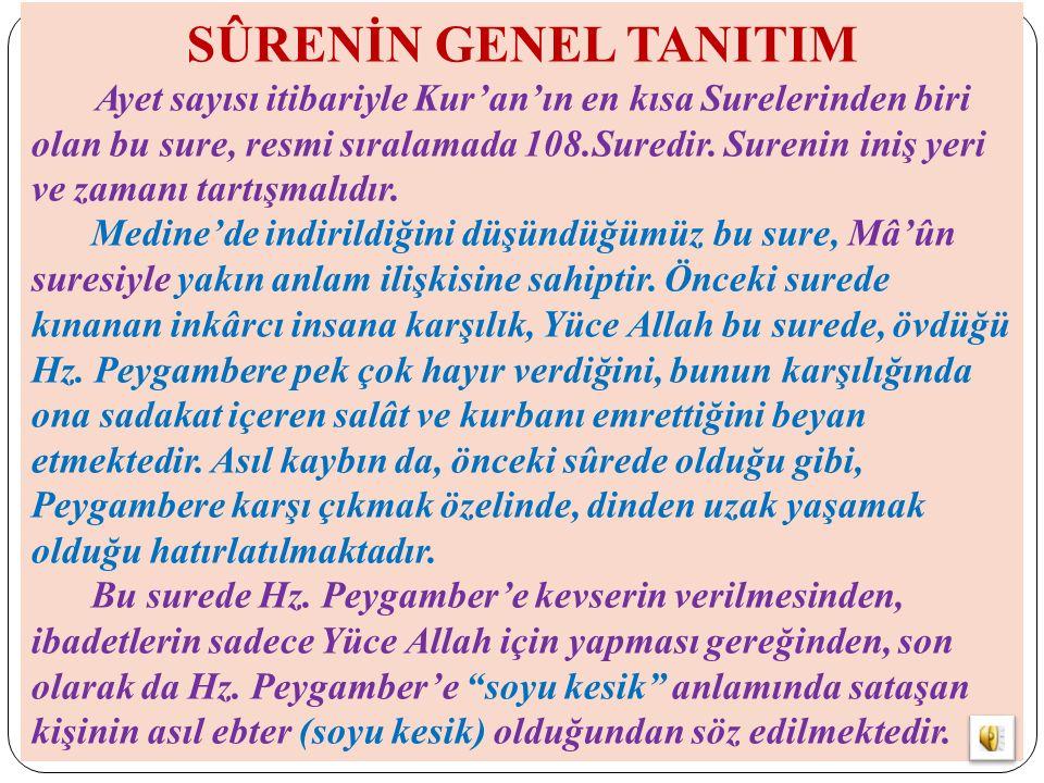 SÛRENİN GENEL TANITIM