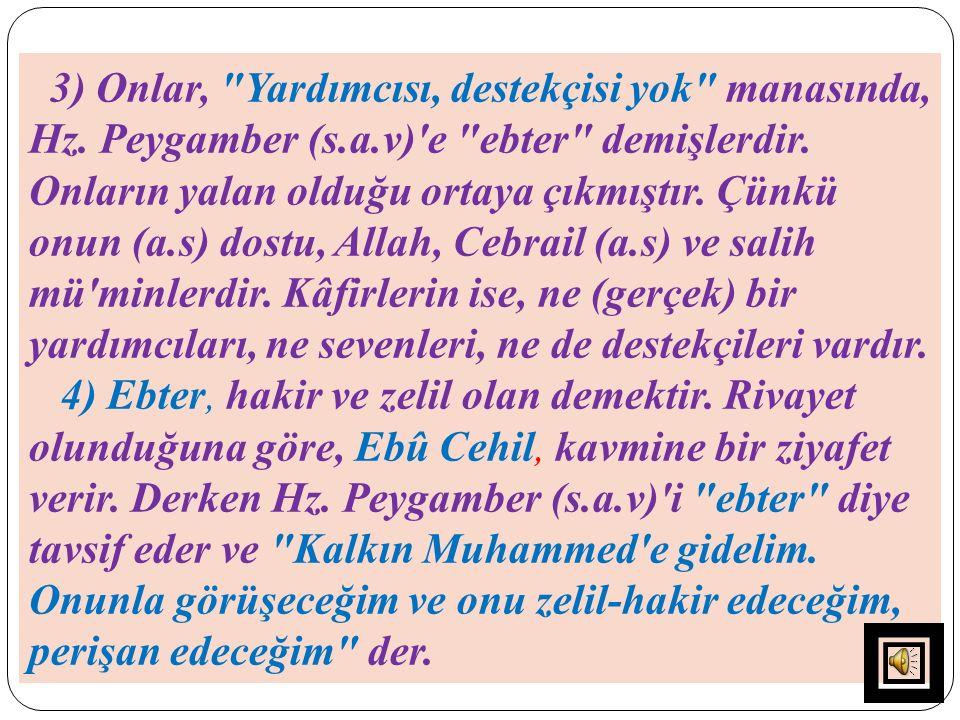 3) Onlar, Yardımcısı, destekçisi yok manasında, Hz. Peygamber (s. a