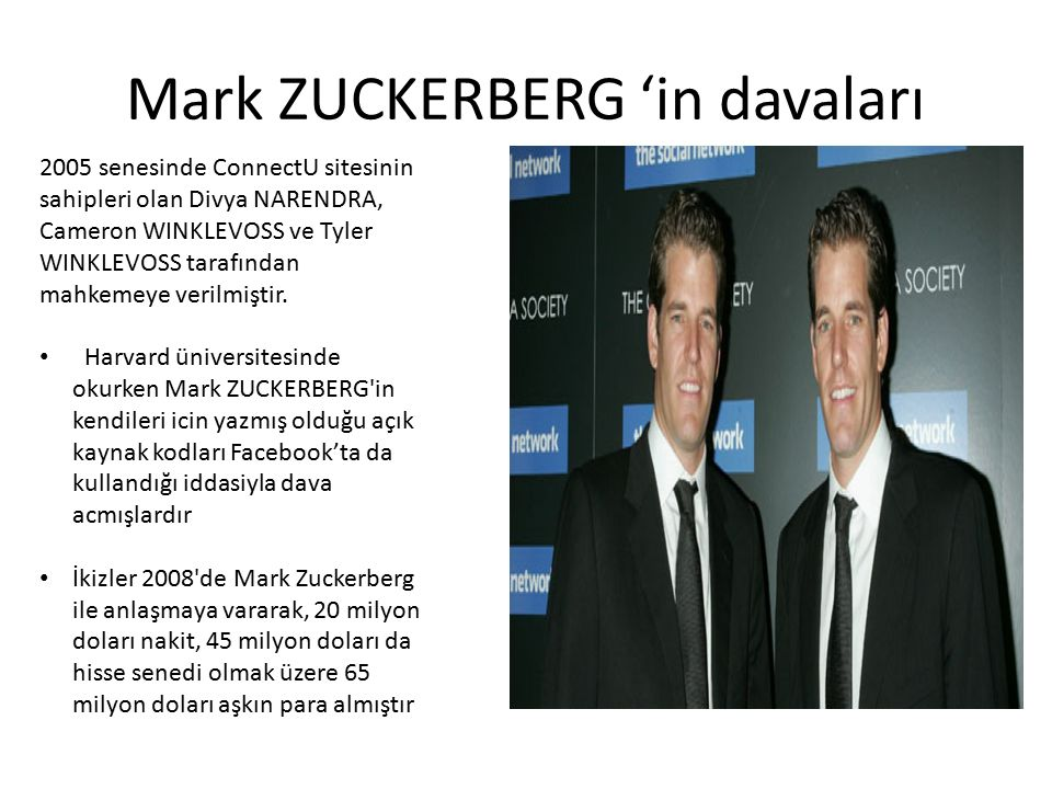 Mark ZUCKERBERG 'in davaları