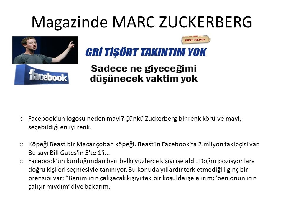Magazinde MARC ZUCKERBERG