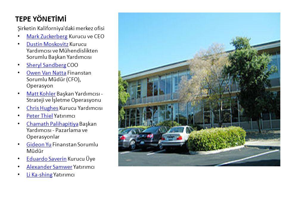 TEPE YÖNETİMİ Şirketin Kaliforniya daki merkez ofisi