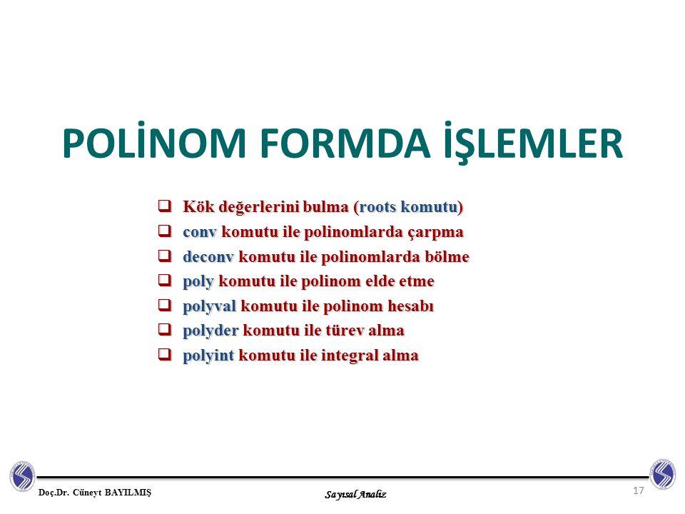 POLİNOM FORMDA İŞLEMLER
