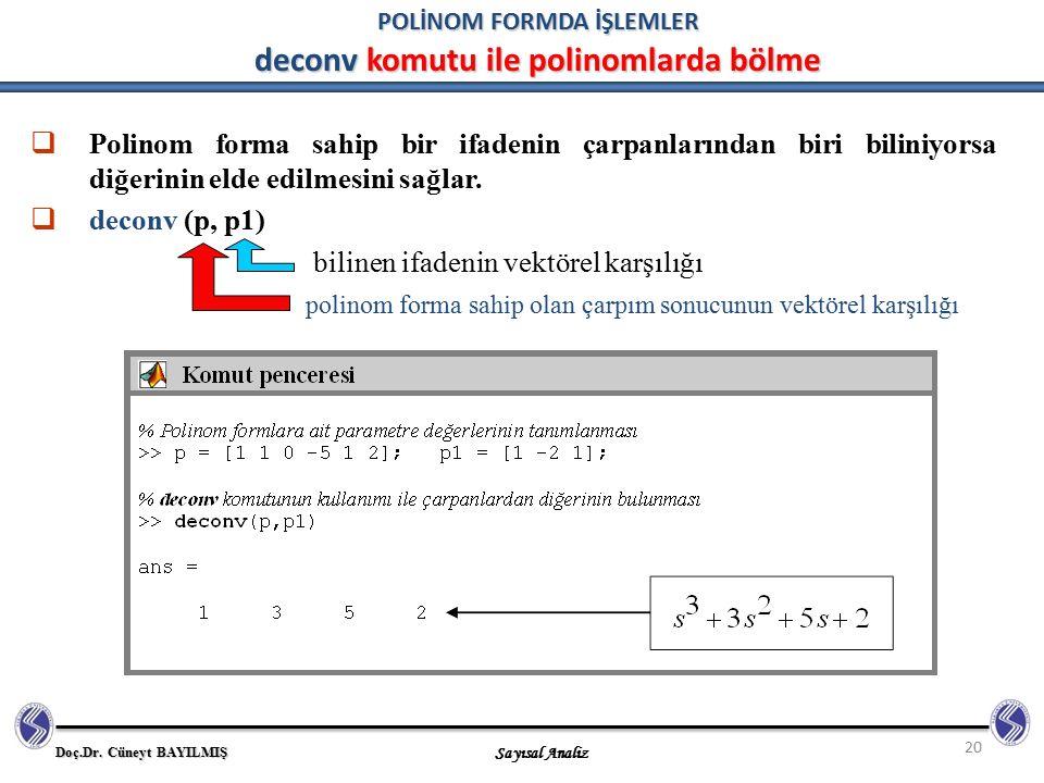 POLİNOM FORMDA İŞLEMLER deconv komutu ile polinomlarda bölme