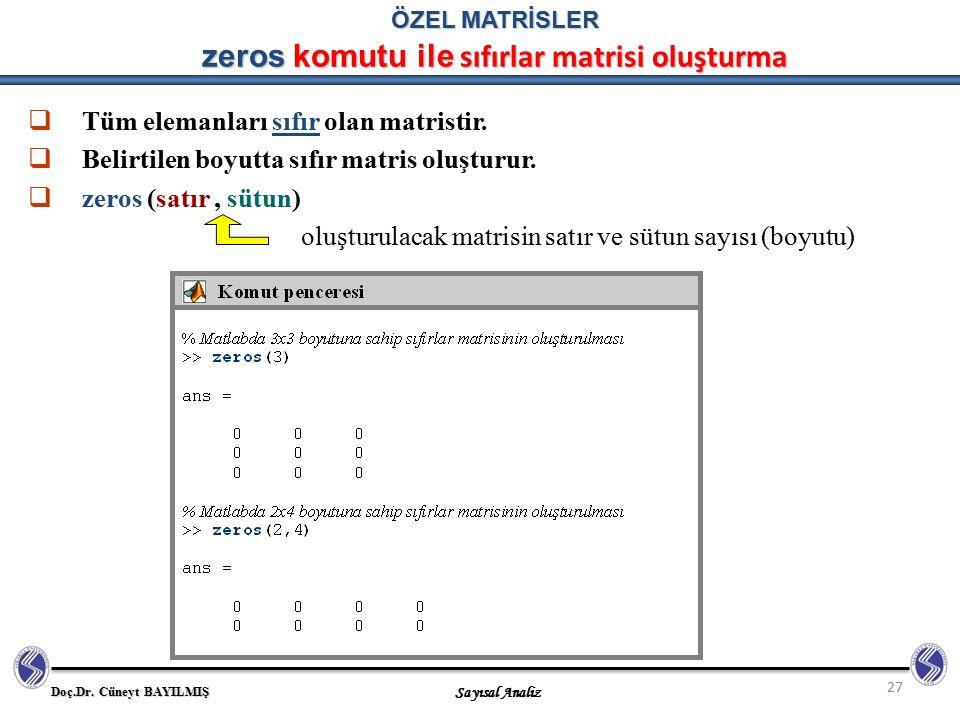 ÖZEL MATRİSLER zeros komutu ile sıfırlar matrisi oluşturma