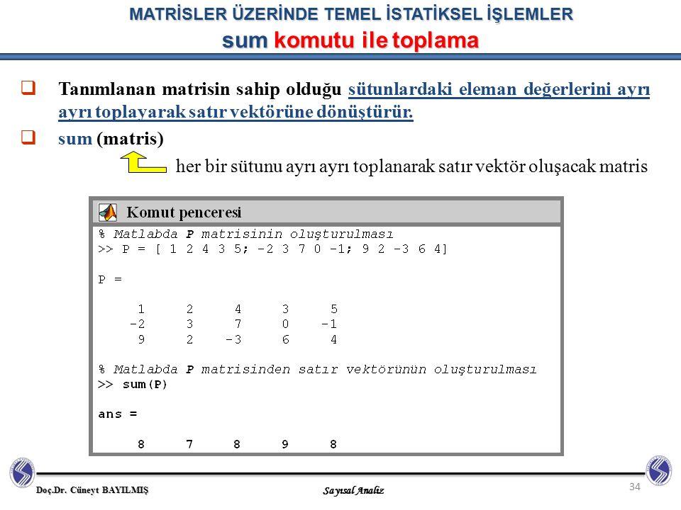 MATRİSLER ÜZERİNDE TEMEL İSTATİKSEL İŞLEMLER sum komutu ile toplama