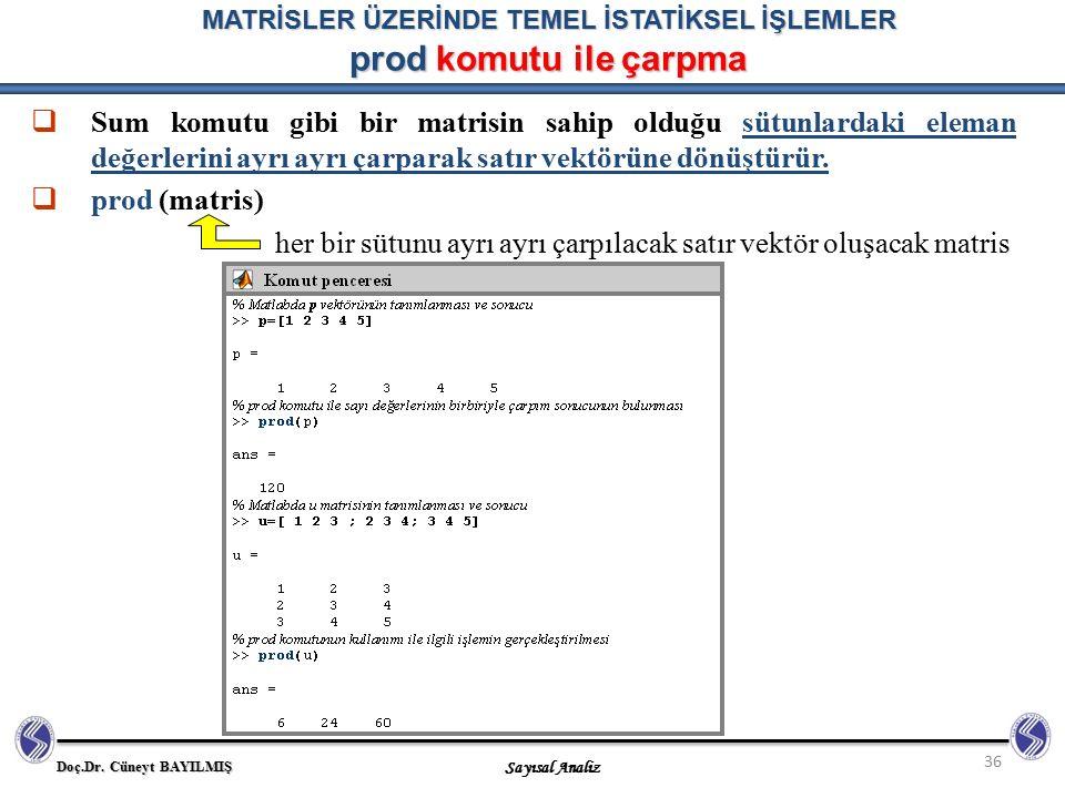 MATRİSLER ÜZERİNDE TEMEL İSTATİKSEL İŞLEMLER prod komutu ile çarpma