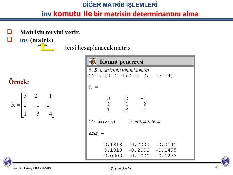 DİĞER MATRİS İŞLEMLERİ inv komutu ile bir matrisin determinantını alma