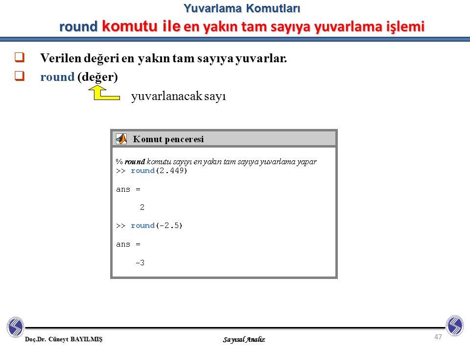 Verilen değeri en yakın tam sayıya yuvarlar. round (değer)