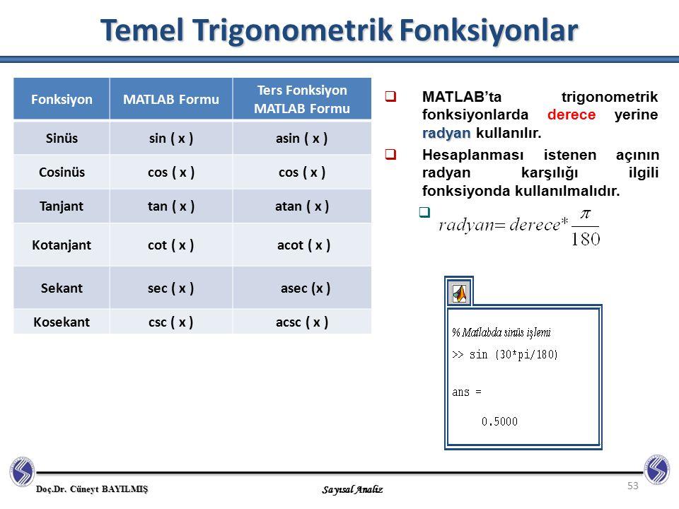 Temel Trigonometrik Fonksiyonlar