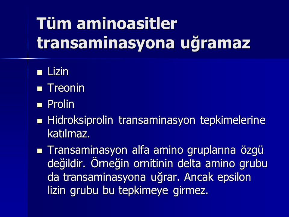 Tüm aminoasitler transaminasyona uğramaz