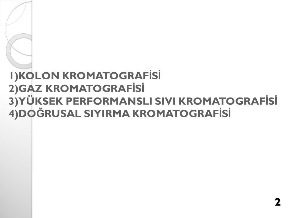 1)KOLON KROMATOGRAFİSİ