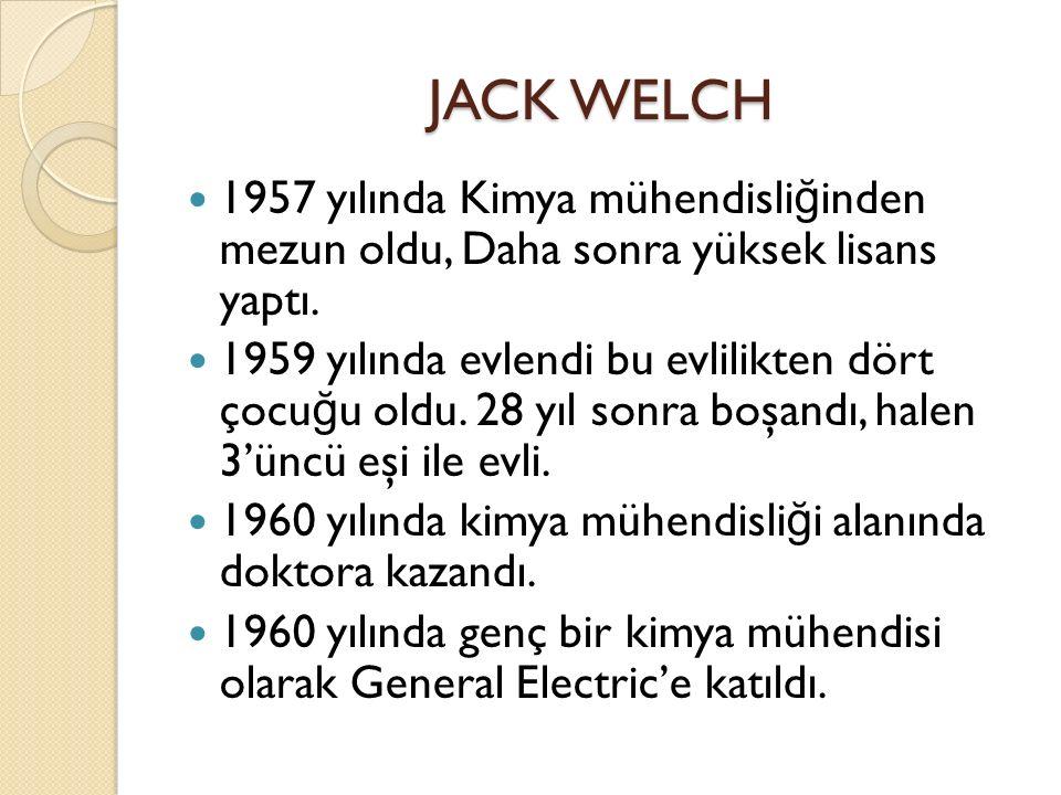 JACK WELCH 1957 yılında Kimya mühendisliğinden mezun oldu, Daha sonra yüksek lisans yaptı.