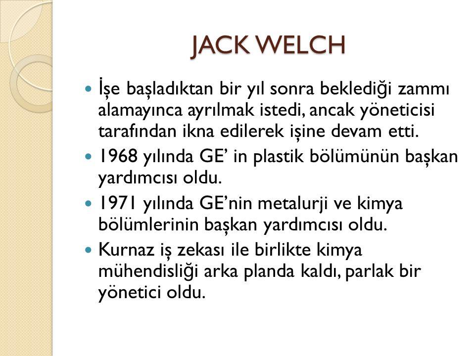 JACK WELCH İşe başladıktan bir yıl sonra beklediği zammı alamayınca ayrılmak istedi, ancak yöneticisi tarafından ikna edilerek işine devam etti.