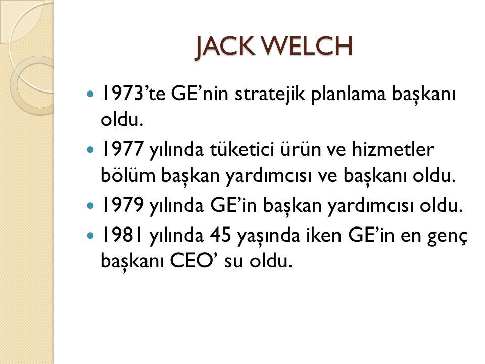JACK WELCH 1973'te GE'nin stratejik planlama başkanı oldu.