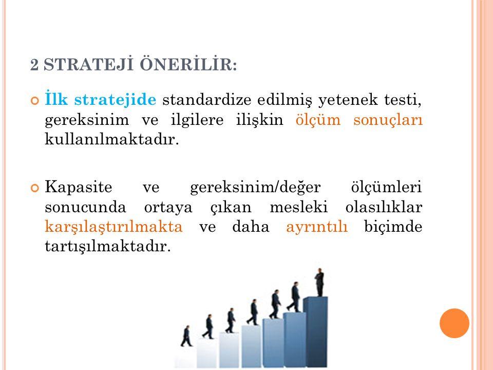 2 STRATEJİ ÖNERİLİR: İlk stratejide standardize edilmiş yetenek testi, gereksinim ve ilgilere ilişkin ölçüm sonuçları kullanılmaktadır.