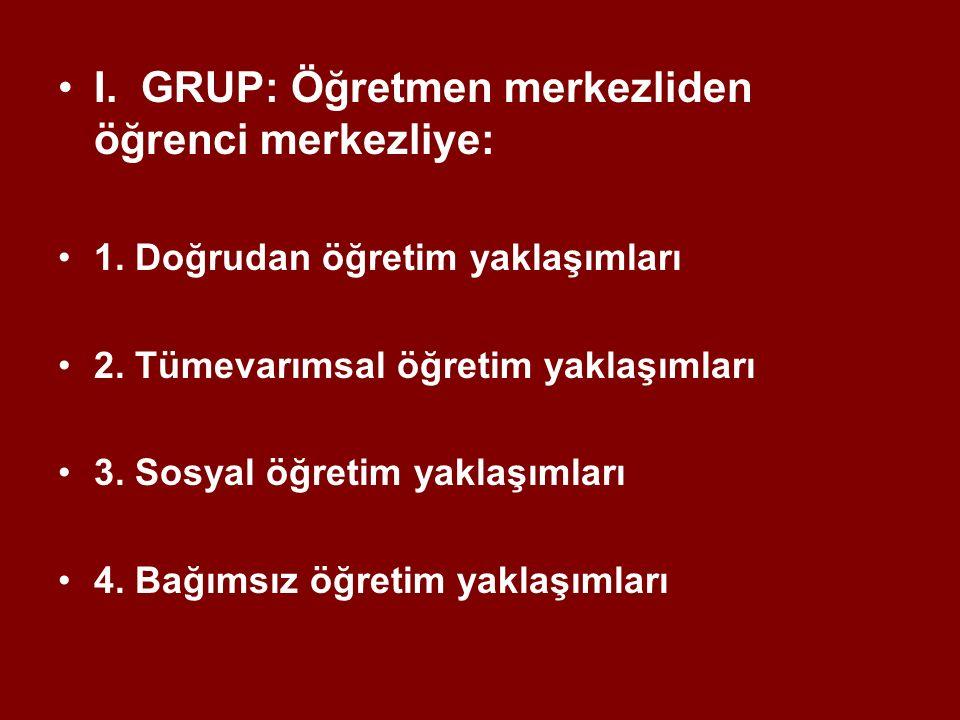 I. GRUP: Öğretmen merkezliden öğrenci merkezliye: