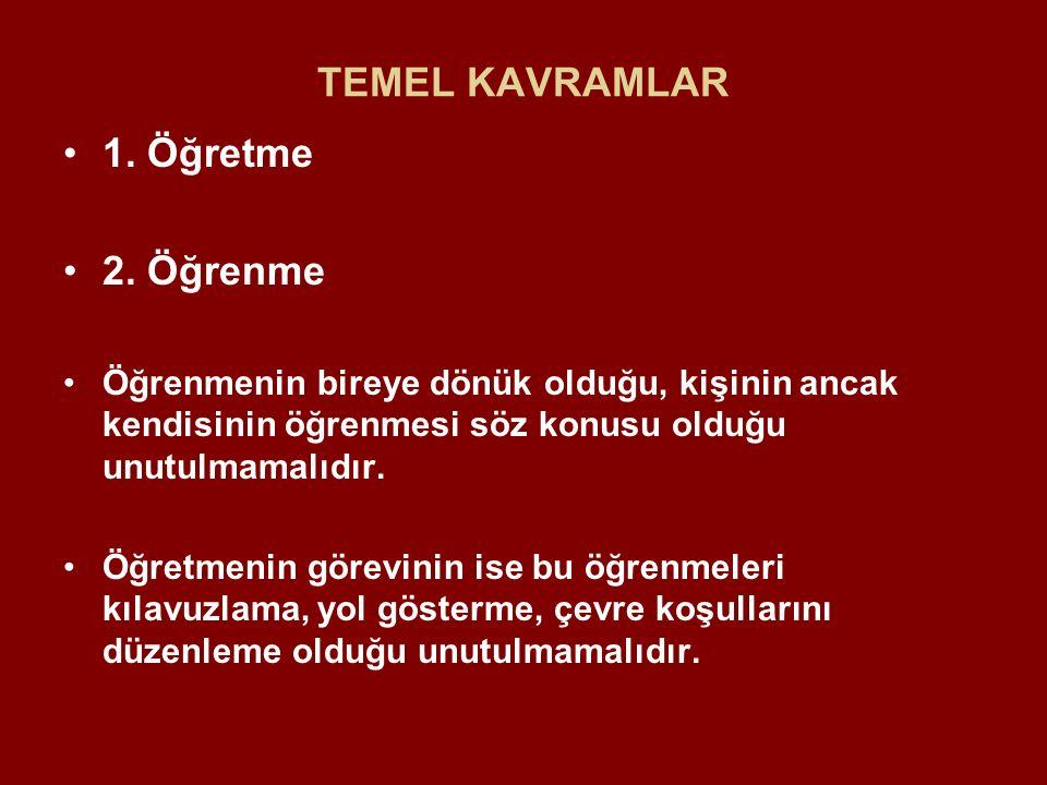 TEMEL KAVRAMLAR 1. Öğretme 2. Öğrenme