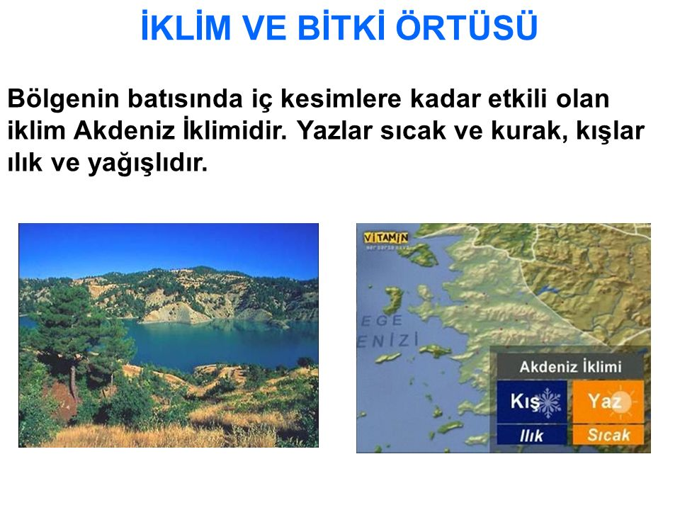 İKLİM VE BİTKİ ÖRTÜSÜ Bölgenin batısında iç kesimlere kadar etkili olan iklim Akdeniz İklimidir.