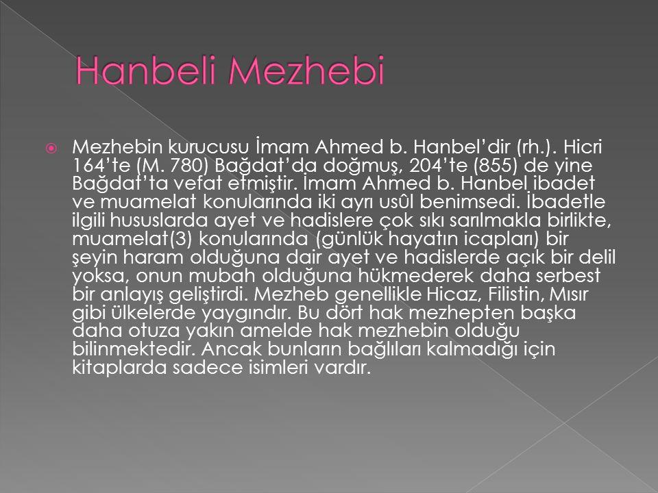 Hanbeli Mezhebi
