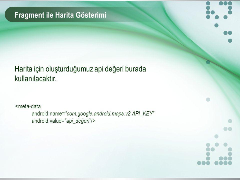 Fragment ile Harita Gösterimi