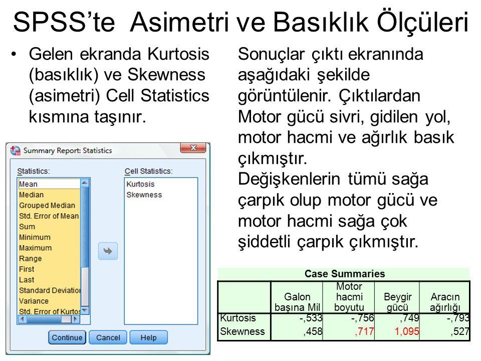SPSS'te Asimetri ve Basıklık Ölçüleri