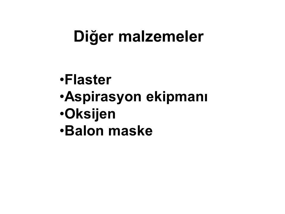 Diğer malzemeler Flaster Aspirasyon ekipmanı Oksijen Balon maske