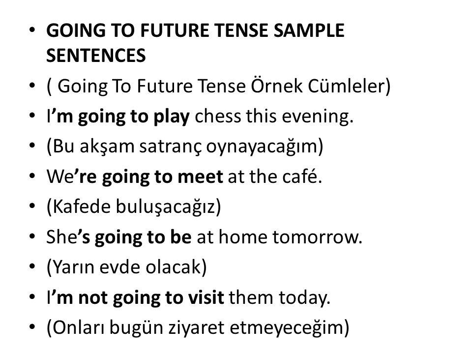 GOING TO FUTURE TENSE SAMPLE SENTENCES